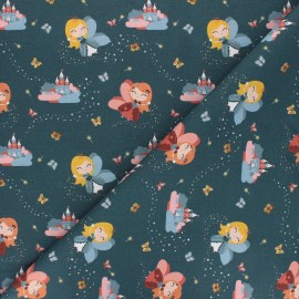 Cotton fabric - petrol blue Fairy princess x 10cm