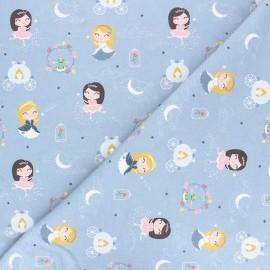 Tissu coton Dancing princess - bleu fumée x 10cm