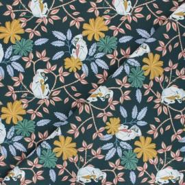 Tissu coton Jungle monkey - vert bouteille x 10cm