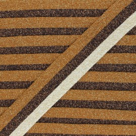 35mm Lurex Knitted Ribbon - brown Glowy x 1m