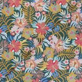 Tissu coton Tropical garden - ocre x 10cm