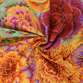 Kaffe Fassett Cotton poplin fabric - orange Brassico x 10cm