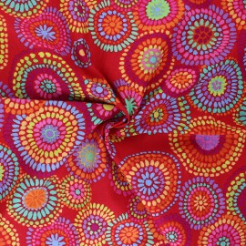 Kaffe Fassett Cotton poplin fabric - red Mosaic circles x 10cm