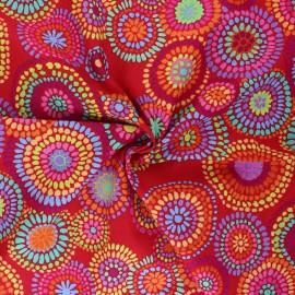 Tissu popeline de coton Kaffe Fassett Mosaic circles - rouge x 10cm