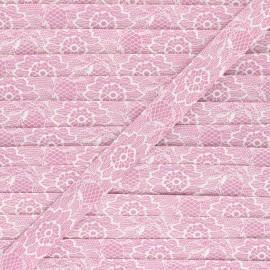 Biais polycoton 18mm Lacy - bois de rose x 1m