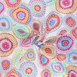 Kaffe Fassett Cotton poplin fabric - white Mosaic circles x 10cm