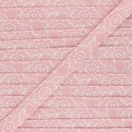 18mm Polycotton bias binding - powder pink Lacy x 1m