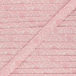Biais polycoton 18mm Lacy - rose poudré x 1m