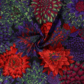 Kaffe Fassett Cotton poplin fabric - black Dancing dahlias x 10cm
