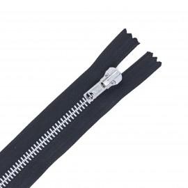 Aluminium non-separable zipper 30 cm - black