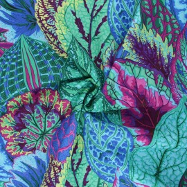 Kaffe Fassett Cotton poplin fabric - blue Coleus x 10cm