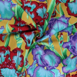 Kaffe Fassett Cotton poplin fabric - yellow Bearded iris x 10cm