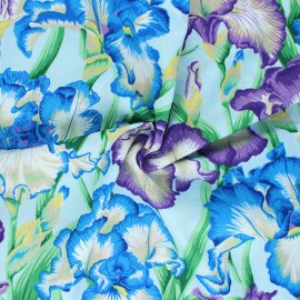 Kaffe Fassett Cotton poplin fabric - blue Bearded iris x 10cm