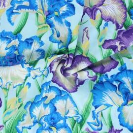 Tissu popeline de coton Kaffe Fassett Bearded iris - bleu x 10cm
