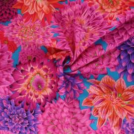 Tissu popeline de coton Kaffe Fassett Dancing dahlias - rose x 10cm