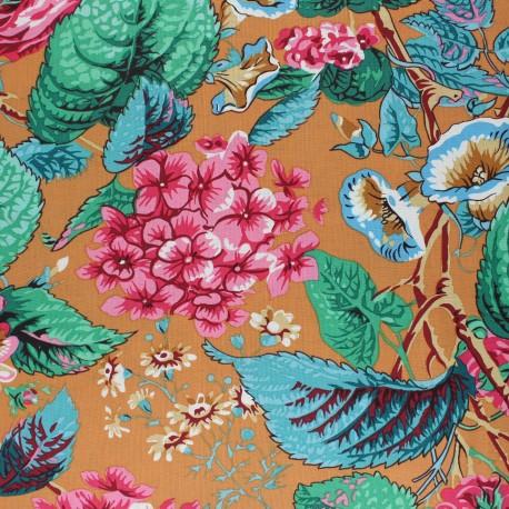 Kaffe Fassett Cotton poplin fabric - ochre Rose and Hydrangea x 10cm