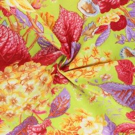 Tissu popeline de coton Kaffe Fassett Rose and Hydrangea - citron x 10cm