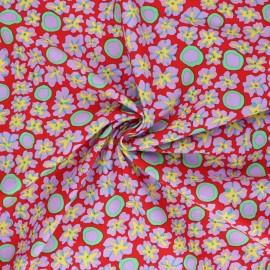 Tissu popeline de coton Kaffe Fassett Primulas - rouge x 10cm