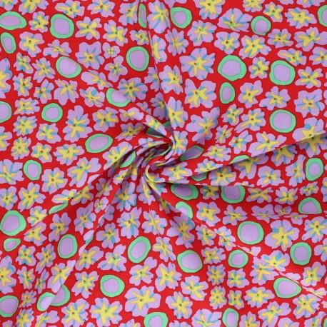 Kaffe Fassett Cotton poplin fabric - red Primulas x 10cm