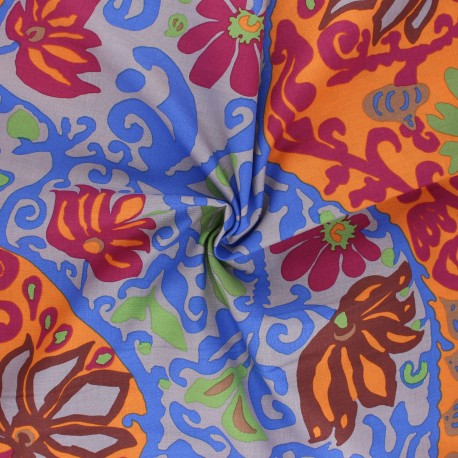 Kaffe Fassett Cotton poplin fabric - orange Bali brocade x 10cm