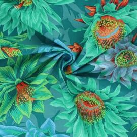 Kaffe Fassett Cotton poplin fabric - green Cactus flower x 10cm