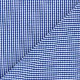 Gingham seersucker fabric - blue Morgan x 10cm