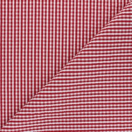 Tissu seersucker vichy Morgan - rouge x 10cm