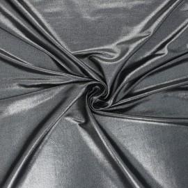 Metallic jersey fabric - black/silver Party night x 10cm