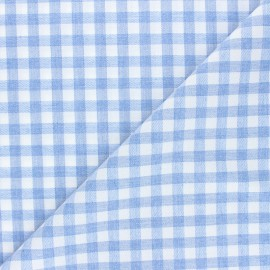 Gingham flannel fabric - light blue Gabin x 10cm