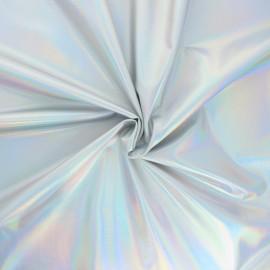 Iridescent lycra fabric - silver Holo x 10cm