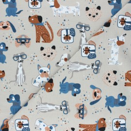 Jersey cotton fabric - sand Dog family x 10cm