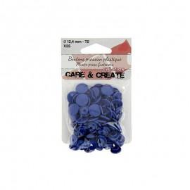 25 boutons pressions Colora - bleu roi