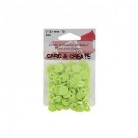 25 boutons pressions Colora - vert pomme