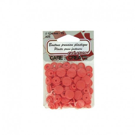 25 boutons pressions Colora - rouge