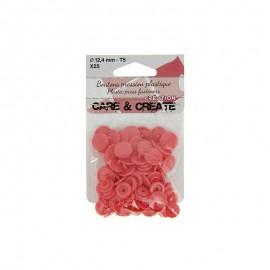 25 boutons pressions Colora - grenadine