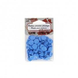 25 boutons pressions Colora - bleu