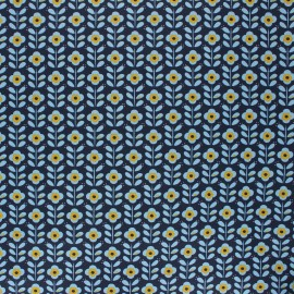Poppy coated cretonne cotton fabric - night blue Floral fantasy x 10cm