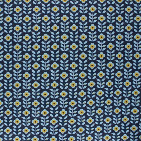 Tissu coton cretonne enduit Poppy Floral fantasy  - bleu nuit x 10cm