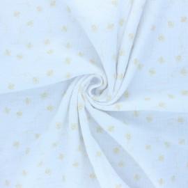 Double cotton gauze fabric - white Bees x 10cm
