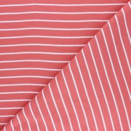 Tissu jersey Cloud 9 Knits Stripes - corail x 10cm