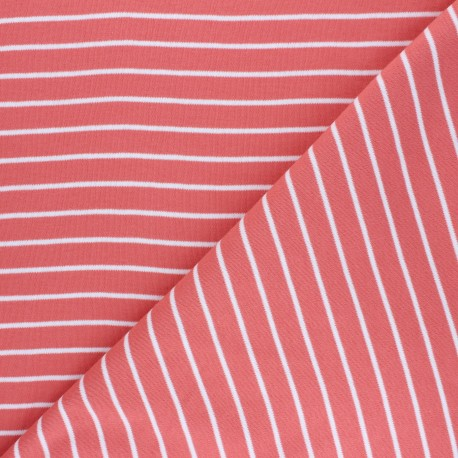 Cloud 9 Jersey fabric Knits - coral pink Stripes x 10cm