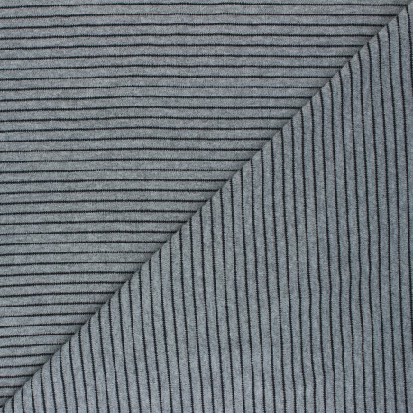 Cloud 9 Jersey fabric Knits - mottled grey Little stripes x 10cm