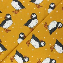 Tissu jersey Bloome Copenhagen Puffins - jaune moutarde x 10cm