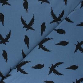 Tissu jersey Bloome Copenhagen Crows - bleu saphir x 10cm