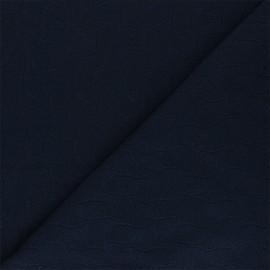 Tissu Mind the Maker jersey jacquard Leaf - bleu nuit x 10 cm