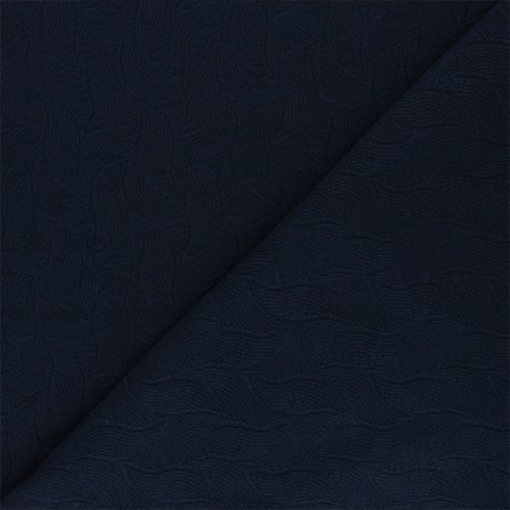 Mind the Maker Jersey jacquard fabric - midnight blue Leaf x 10 cm