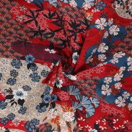 Viscose fabric - red Ayo x 10cm