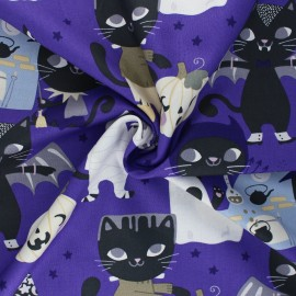 Alexander Henry cotton fabric - purple Costume kitty x 10 cm