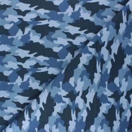 Tissu coton cretonne Army - bleu x 10cm