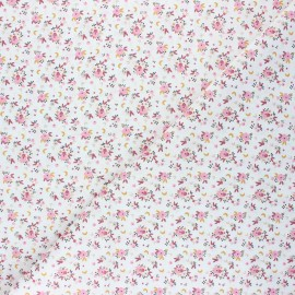 Tissu coton cretonne Fledi - blanc/rose x 10cm